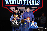 Jordan Lovins, Zach Nicholson, during the Team Roping Back Number Presentation at the Junior World Finals. Photo by Andy Watson. Written permission must be obtained to use this photo in any manner.