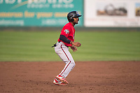 Billings Mustangs right fielder Satchel McElroy (14) takes a lead off second base during a Pioneer League game against the Idaho Falls Chukars at Melaleuca Field on August 22, 2018 in Idaho Falls, Idaho. The Idaho Falls Chukars defeated the Billings Mustangs by a score of 5-3. (Zachary Lucy/Four Seam Images)