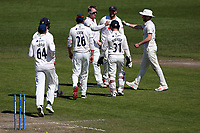 Simon Harmer of Essex celebrates with his team mates after taking the wicket of Ed Barnard during Worcestershire CCC vs Essex CCC, LV Insurance County Championship Group 1 Cricket at New Road on 2nd May 2021