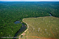 Deforestation for cattle breeding in Rondônia, Brazil, along the Bolivian border. Primary lowland tropical rainforest in Noel Kempff Mercado National Park, Santa Cruz, Bolivia, along the Rio Verde, a tributary of the Rio Iténez or Guaporé.