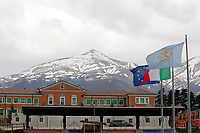 Edifici danneggiati e sullo sfondo i monti della Lega con la neve<br /> Damaged buildings and in the background, Laga mountains with snow<br /> Amatrice 02/04/2017. Il Principe Carlo del Galles in visita nella zona terremotata di Amatrice<br /> Amatrice April 2nd 2017. Prince Charles of Wales visits Amatrice, hit by the earthquake of 24 August. <br /> Foto Samantha Zucchi Insidefoto