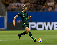 GRENOBLE, FRANCE - JUNE 18: Aivi Luik #3 of the Australian National Team passes the ball during a game between Jamaica and Australia at Stade des Alpes on June 18, 2019 in Grenoble, France.