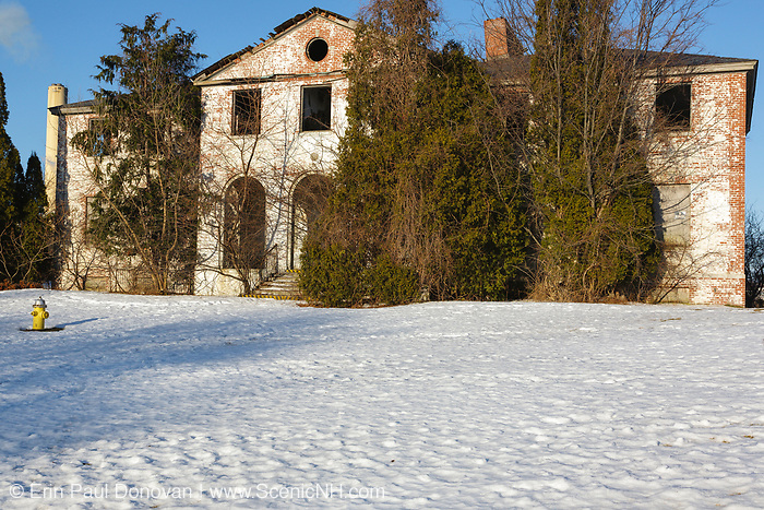 Abandoned Coast Guard barracks at Winter Island Maritime Park in Salem, Massachusetts during the winter months. This vacant building was part of the Coast Guard's Salem Air Station, which was in use from the 1930s to the early 1970s. Today, the hangar, barracks, and other miscellaneous buildings remain at the site of the Air Station.