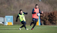 Dominic Gape of Wycombe Wanderers & Nick Freeman of Wycombe Wanderers during the Wycombe Wanderers Training session at Wycombe Training Ground, High Wycombe, England on 17 January 2019. Photo by Andy Rowland.