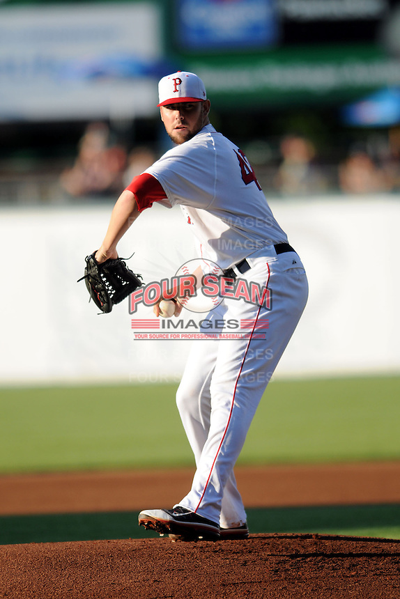 Pawtucket Red Sox starting pitcher Anthony Ranaudo #43 during a game versus the Scranton/Wilkes-Barre RailRiders at McCoy Stadium on August 25, 2013 in Pawtucket, Rhode Island. (Ken Babbitt/Four Seam Images)