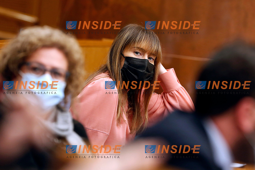 Italia Viva deputy Maria Elena Boschi during the press conference of Italia Viva party that officially opens the Government crisis. Indeed, ministers of his party ha resigned as protest.<br /> Rome(Italy), January 13th 2021<br /> Photo Samantha Zucchi/Insidefoto