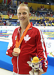 Toronto, Ontario, August 12, 2015. Adam Purdy wins bronze at  the swimming during the 2015 Parapan Am Games . Photo Scott Grant/Canadian Paralympic Committee
