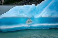 Iceberg from Lago Grey Glacier. Lago Grey lake in  Torres del Paine National Park, Chile