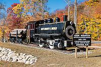 Historic logging train landmark at Loon Mountain, Lincoln, New Hampshire, USA.