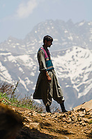 "Gypsy ""pony man"" pausing along trail in the stunning alpine wonderland above Naranag, Kashmir, India."