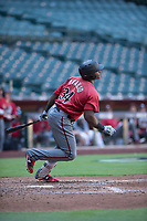 Arizona Diamondbacks right fielder Juan Araujo (34) follows through on his swing during an Instructional League game against the Kansas City Royals at Chase Field on October 14, 2017 in Phoenix, Arizona. (Zachary Lucy/Four Seam Images)