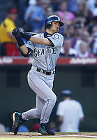Ichiro Suzuki of the Seattle Mariners bats during a 2002 MLB season game against the Los Angeles Angels at Angel Stadium, in Los Angeles, California. (Larry Goren/Four Seam Images)