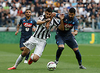 Calcio, Serie A: Juventus vs Napoli. Torino, Juventus Stadium, 23 maggio 2015. <br /> Juventus' Alvaro Morata, left, and Napoli's Miguel Angel Britos fight for the ball during the Italian Serie A football match between Juventus and Napoli at Turin's Juventus Stadium, 23 May 2015.<br /> UPDATE IMAGES PRESS/Isabella Bonotto