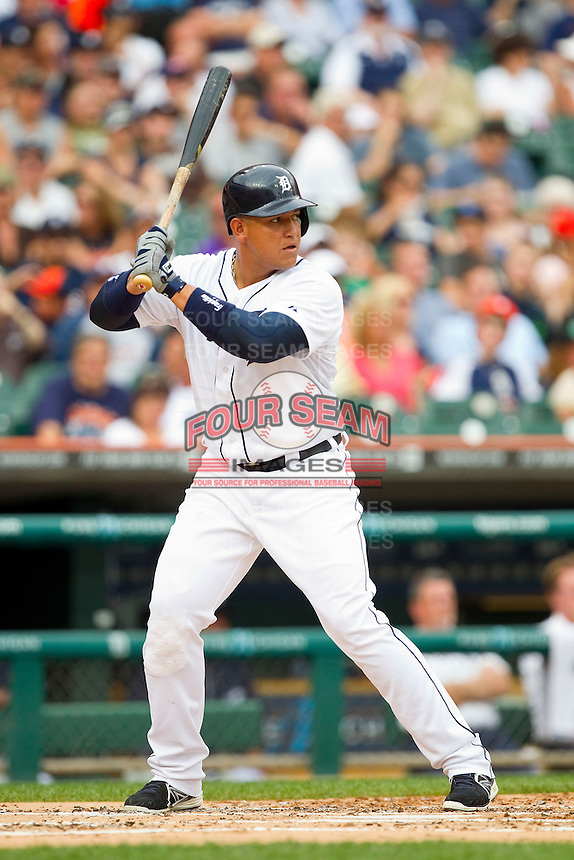 Miguel Cabrera (24) of the Detroit Tigers at bat against the Los Angeles Angels at Comerica Park on June 25, 2013 in Detroit, Michigan.  The Angels defeated the Tigers 14-8.  (Brian Westerholt/Four Seam Images)