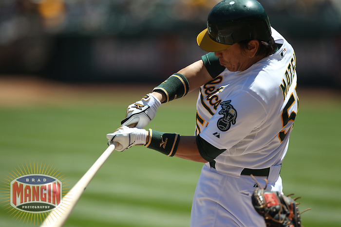 OAKLAND, CA - AUGUST 17:  Hideki Matsui #55 of the Oakland Athletics bats against the Baltimore Orioles during the game at O.co Coliseum on August 17, 2011 in Oakland, California. Photo by Brad Mangin