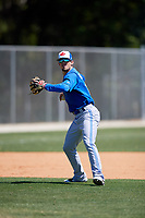 Toronto Blue Jays Cavan Biggio (18) during a Minor League Spring Training Intrasquad game on March 14, 2018 at Englebert Complex in Dunedin, Florida.  (Mike Janes/Four Seam Images)