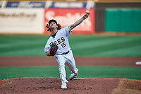 Salt Lake Bees starting pitcher Packy Naughton (15) delivers a pitch to the plate against the Sacramento River Cats at Smith's Ballpark on August 16, 2021 in Salt Lake City, Utah. The Bees defeated the River Cats 6-0. (Stephen Smith/Four Seam Images)