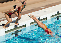 Stanford, CA - February 21, 2015.  Stanford Women's Synchronized Swimming vs Lindenwold University at Avery Aquatic Center on the Stanford campus.