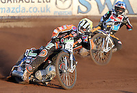 Heat 3: Ricky Wells (yellow) and Peter Karlsson (blue) - Lakeside Hammers vs Wolverhampton Wolves, Elite League Speedway at the Arena Essex Raceway, Pufleet - 04/07/14 - MANDATORY CREDIT: Rob Newell/TGSPHOTO - Self billing applies where appropriate - 0845 094 6026 - contact@tgsphoto.co.uk - NO UNPAID USE