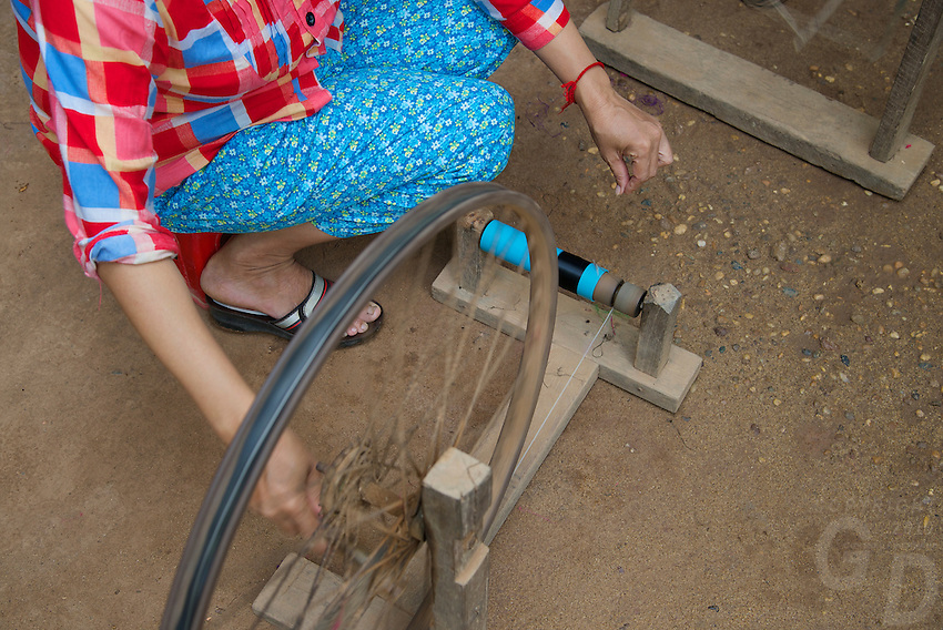Silk Island outside Phnom Penh, Cambodia. Traditional Khmer Silk production