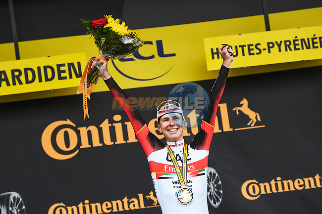 Race leader Tadej Pogacar (SLO) UAE Team Emirates wins  Stage 18 of the 2021 Tour de France, running 129.7km from Pau to Luz Ardiden, France. 15th July 2021.  <br /> Picture: A.S.O./Charly Lopez | Cyclefile<br /> <br /> All photos usage must carry mandatory copyright credit (© Cyclefile | A.S.O./Charly Lopez)