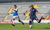 GUADALAJARA, MEXICO - MARCH 18: Sam Vines #13 of the United States sends a crossing ball into the box before a game between Costa Rica and USMNT U-23 at Estadio Jalisco on March 18, 2021 in Guadalajara, Mexico.