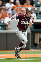 Texas A&M Aggies outfielder Krey Bratsen #13 sprints out of the batters box against the Texas Longhorns in NCAA Big XII Conference baseball on May 21, 2011 at Disch Falk Field in Austin, Texas. (Photo by Andrew Woolley / Four Seam Images)