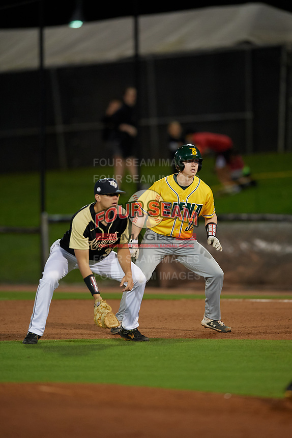 Siena Saints Bryce Mordecki (31) leads off during a game against the UCF Knights on February 14, 2020 at John Euliano Park in Orlando, Florida.  UCF defeated Siena 2-1.  (Mike Janes/Four Seam Images)