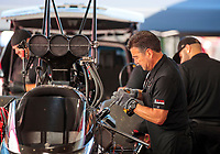 Sep 15, 2019; Mohnton, PA, USA; Crew member for NHRA top fuel driver Billy Torrence during the Reading Nationals at Maple Grove Raceway. Mandatory Credit: Mark J. Rebilas-USA TODAY Sports