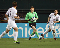 Troy Perkins #1 of the USA prepares to clear the ball during a CONCACAF Gold Cup match against Honduras at RFK Stadium on July 8 2009 in Washington D.C. USA won the match 2-0.