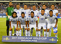Philadelphia, PA - Wednesday July 19, 2017: El Salvador starting eleven during a 2017 Gold Cup match between the men's national teams of the United States (USA) and El Salvador (SLV) at Lincoln Financial Field.