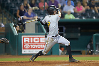 Kyle Watson (2) of the West Virginia Power follows through on his swing against the Greensboro Grasshoppers at First National Bank Field on August 9, 2018 in Greensboro, North Carolina. The Power defeated the Grasshoppers 9-7 in game two of a double-header. (Brian Westerholt/Four Seam Images)