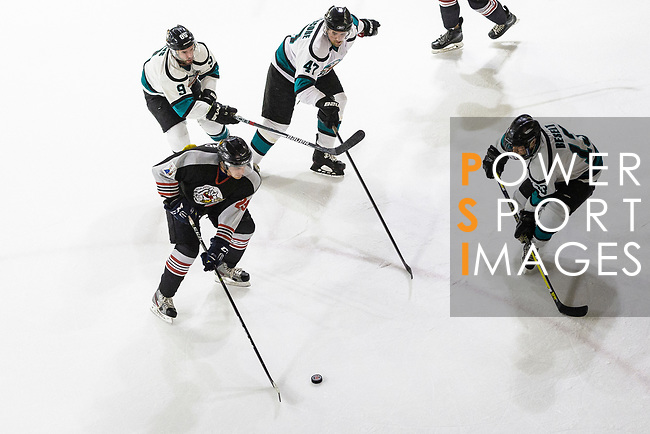 Petter Berglund of Nordic Vikings (L) battle for the puck with Trevor Beselt of Cathay Flyers (R) during the Mega Ice Hockey 5s match between Cathay Flyers and Nordic Vikings on May 03, 2018 in Hong Kong, Hong Kong. Photo by Marcio Rodrigo Machado / Power Sport Images