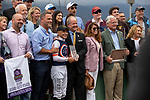 """ARCADIA, CA  SEPTEMBER 28:  <br /> #1 Mirth, ridden by Mike Smith, and the connections in the winners circle after winning the Rodeo Drive Stakes (Grade l) """"Win and You're Breeders' Cup Filly and Mare Turf Division"""" on September 28, 2019 at Santa Anita Park in Arcadia, CA.(Photo by Casey Phillips/Eclipse Sportswire/CSM"""