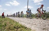 GC riders Bauke Mollema (NED/Trek Segafredo) and Romain Bardet (FRA/AG2R) riding the cobbles. <br /> <br /> Stage 9: Arras Citadelle > Roubaix (154km)<br /> <br /> 105th Tour de France 2018<br /> ©kramon