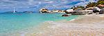 Virgin Gorda, British Virgin Islands, Caribbean <br /> Morning light on the beach at Spring Bay, Spring Bay National Park
