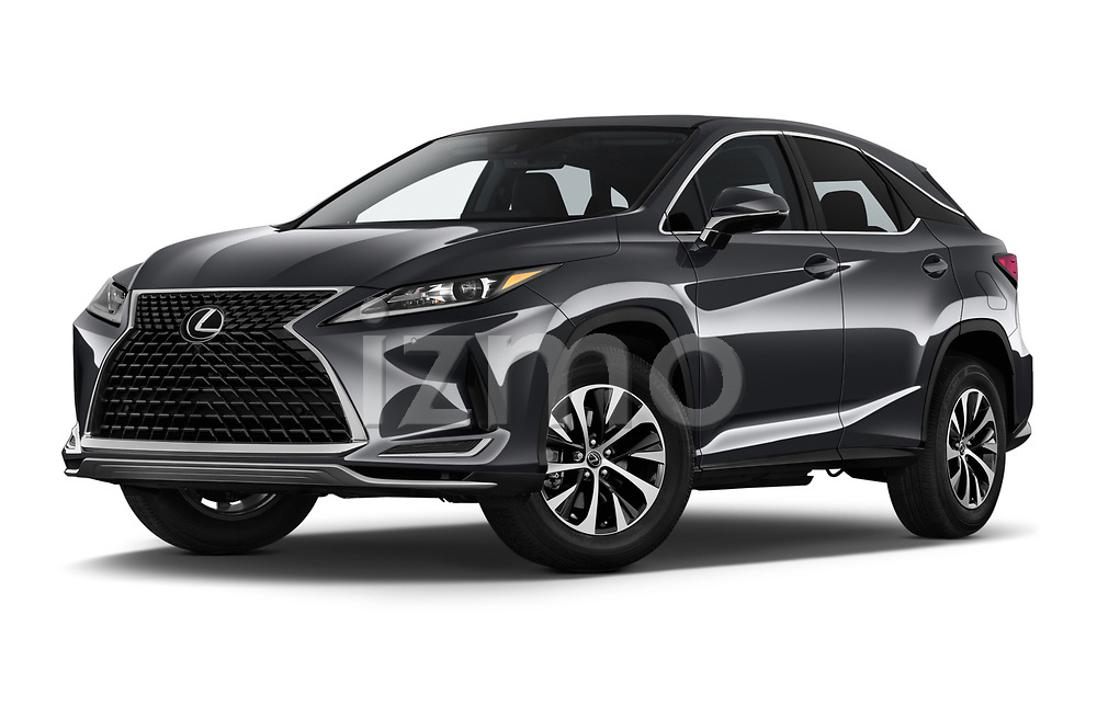Stock pictures of low aggressive front three quarter view of a 2020 Lexus RX 350 5 Door SUV