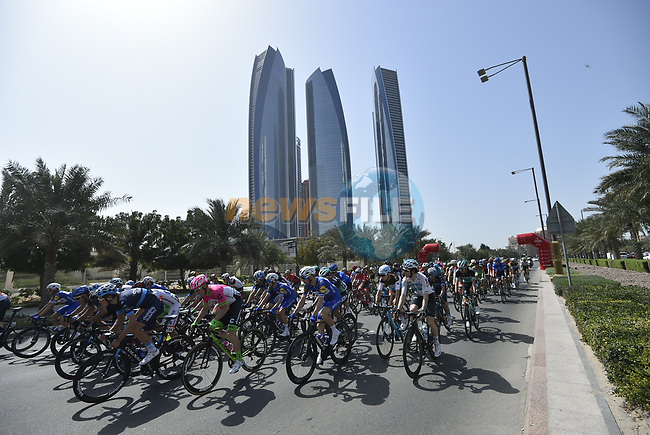 Km0 the start of Stage 3 of the 2018 Abu Dhabi Tour, Nation Towers Stage running 133km from Nation Towers to Big Flag, Abu Dhabi, United Arab Emirates. 23rd February 2018.<br /> Picture: LaPresse/Fabio Ferrari   Cyclefile<br /> <br /> <br /> All photos usage must carry mandatory copyright credit (© Cyclefile   LaPresse/Fabio Ferrari)