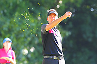 Ian Poulter checks the wind strength on the #2 tee during the BMW PGA Golf Championship at Wentworth Golf Course, Wentworth Drive, Virginia Water, England on 26 May 2017. Photo by Steve McCarthy/PRiME Media Images.