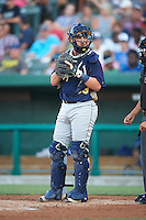 Burlington Bees catcher Michael Barash (33) during a game against the South Bend Cubs on July 22, 2016 at Four Winds Field in South Bend, Indiana.  South Bend defeated Burlington 4-3.  (Mike Janes/Four Seam Images)