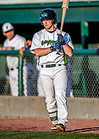 29 May 2021: Vermont Lake Monsters catcher Tyler Favretto, from Mount Royal, Quebec, stands on deck during a game against the Norwich Sea Unicorns at Centennial Field in Burlington, Vermont. The Lake Monsters defeated the Unicorns 6-3 in their FCBL Home Opener, the first home game played at Centennial Field post-Covid-19 pandemic. Mandatory Credit: Ed Wolfstein Photo *** RAW (NEF) Image File Available ***