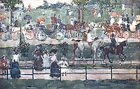 American Painters:  M. Prendergast--Central Park, 1900.  Watercolor.  Whitney Museum of American Art.