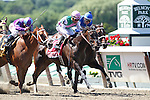 June 7, 2014: #1 Close Hatches, trained by Bill Mott and ridden by Joel Rosario, wins the 46th running of the Grade I Ogden Phipps, one mile and a sixteenth for fillies and mares four and older at Belmont Park , Elmont, NY. Princess of Sylmar (#6, left) was second), Antipathy (#2, right) was 3rd.  ©Joan Fairman Kanes/ESW/CSM