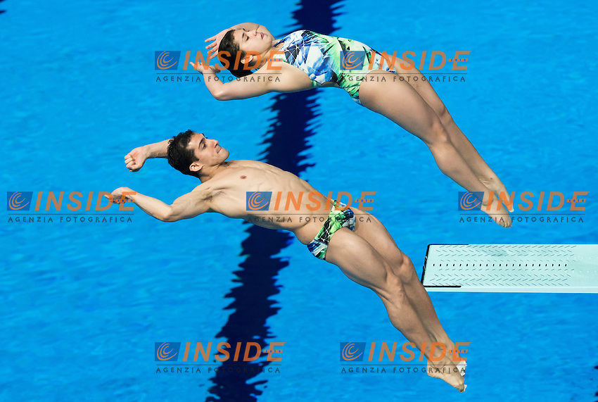 HERNANDEZ MONZON Dolores and PACHECO MARRUFO Rommel MEX<br /> Diving - Mixed 3m Synchro springboard final<br /> Day 10 02/08/2015<br /> XVI FINA World Championships Aquatics Swimming<br /> Kazan Tatarstan RUS July 24 - Aug. 9 2015 <br /> Photo Giorgio Perottino/Deepbluemedia/Insidefoto