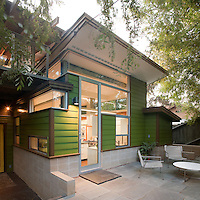 Cool, Clean and Green, La Jolla, 2009. Home of the Year 2009, San Diego Home/Garden Magazine. Renovation of 1950's house. Demolished back of house and added kitchen, pantry, master suite and patio. Renewable/recyclable materials used. Heather Johnston, architect. Photographer James Brady.