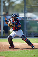 Minnesota Twins catcher Juan Centeno (80) during a Spring Training practice on March 1, 2016 at Hammond Stadium in Fort Myers, Florida.  (Mike Janes/Four Seam Images)