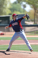 Dylan Baker #40 of the Cleveland Indians pitches during a Minor League Spring Training Game against the Los Angeles Dodgers at the Los Angeles Dodgers Spring Training Complex on March 22, 2014 in Glendale, Arizona. (Larry Goren/Four Seam Images)