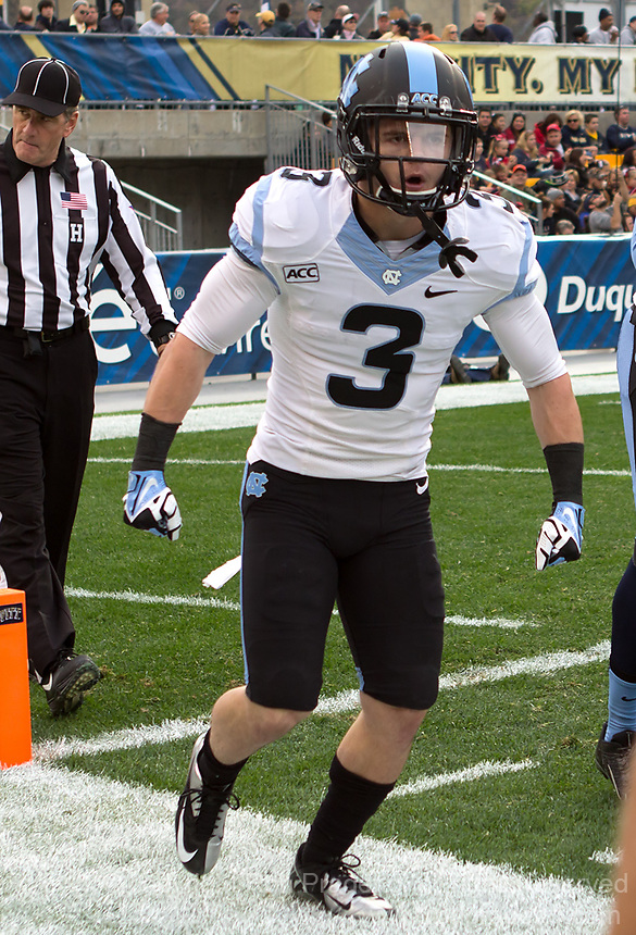 North Carolina punt returner Ryan Switzer celebrates after his 65-yard punt return for a touchdown. The North Carolina Tar Heels defeated the Pitt Panthers 34-27 at Heinz Field, Pittsburgh Pennsylvania on November 16, 2013.