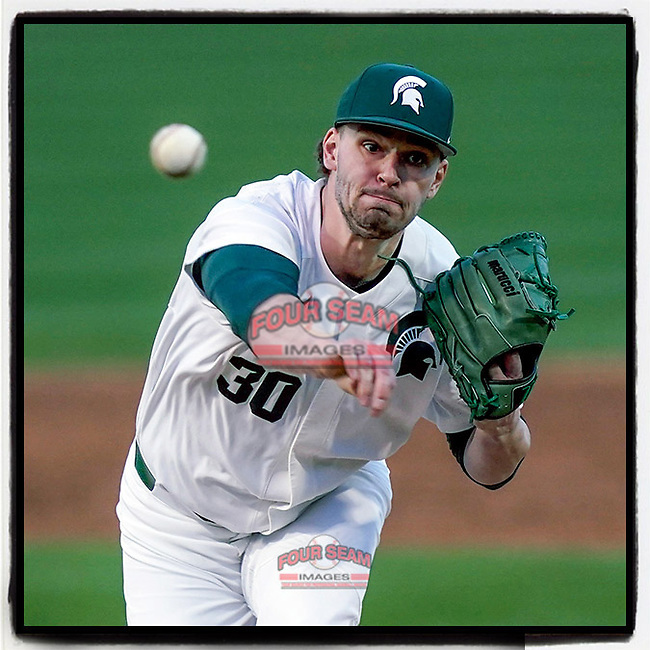 Starting pitcher Mason Erla (30) of the Michigan State Spartans struck out eight over six innings for the 7-4 win against the Maryland Terrapins on Saturday, March 6, 2021, at Fluor Field at the West End in Greenville, South Carolina. (Tom Priddy/Four Seam Images)