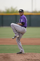 Colorado Rockies starting pitcher Justin Valdespina (70) prepares to deliver a pitch during an Extended Spring Training game against the Arizona Diamondbacks at Salt River Fields at Talking Stick on April 16, 2018 in Scottsdale, Arizona. (Zachary Lucy/Four Seam Images)